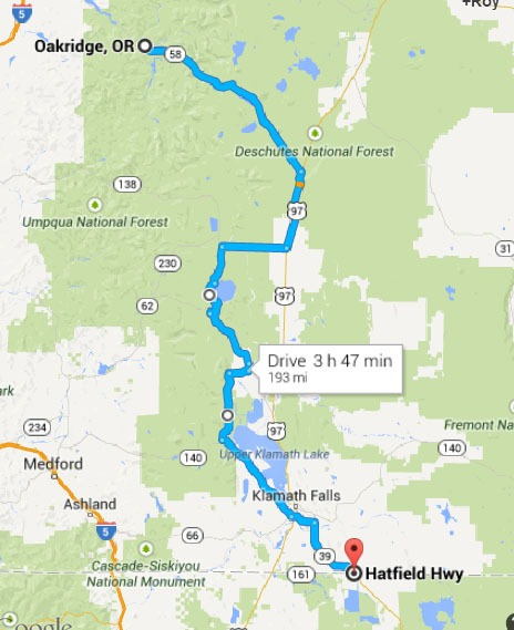 Oregon Border to oakridge OR. Map